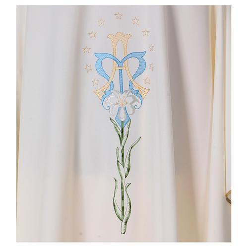 Casula com lírio estrelas iniciais Santíssimo Nome de Maria 2