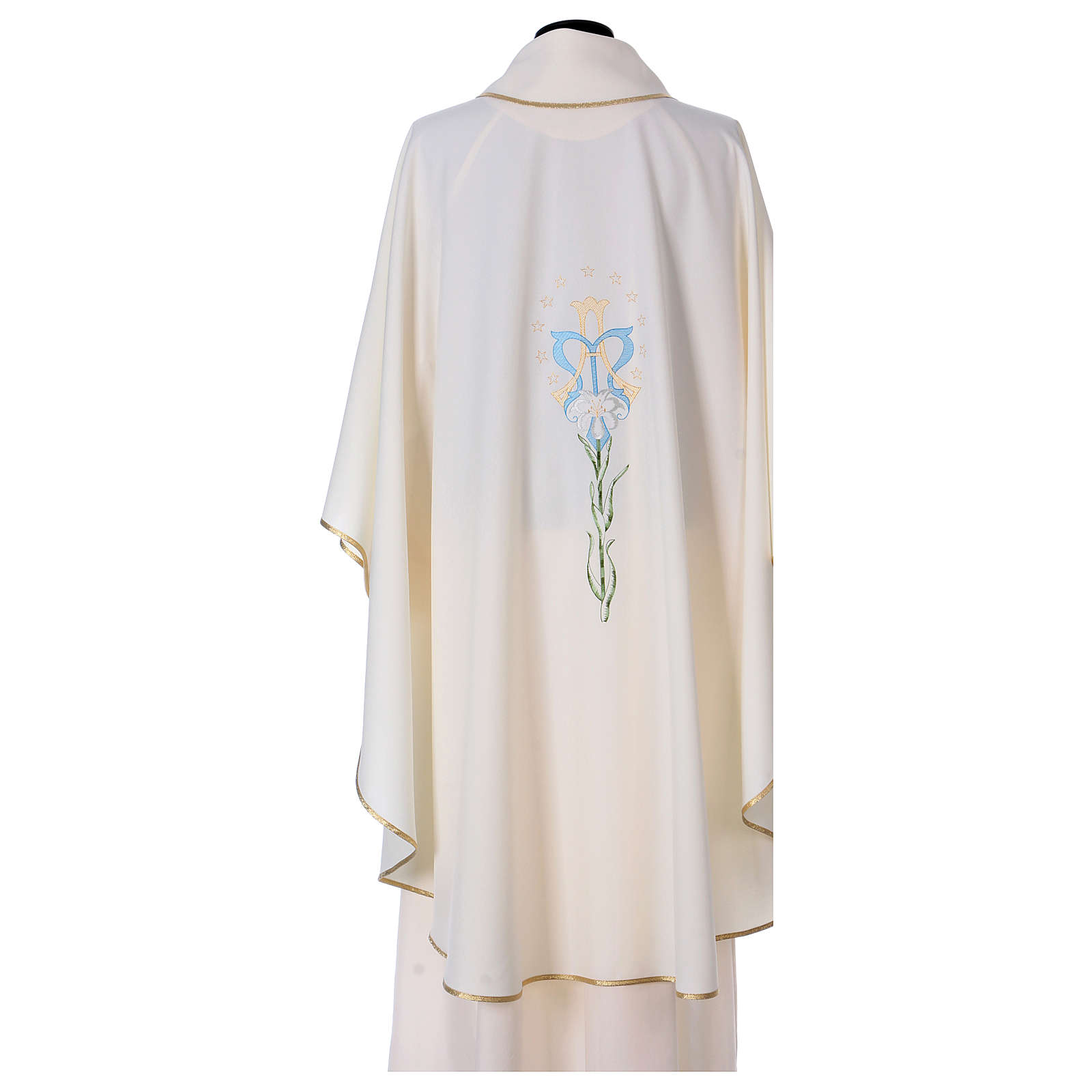 Semi Gothic Chasuble with lily, stars and initials of Mary 4