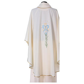Semi Gothic Chasuble with lily, stars and initials of Mary s3