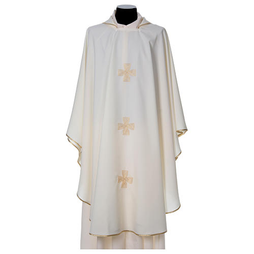 Chasuble with three crosses and woven embroideries 1
