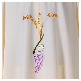 Casulla con tres espigas doradas y uva estilizada s2
