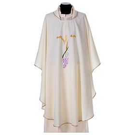 Priest Chasuble with three golden ears of wheat and grapes s1