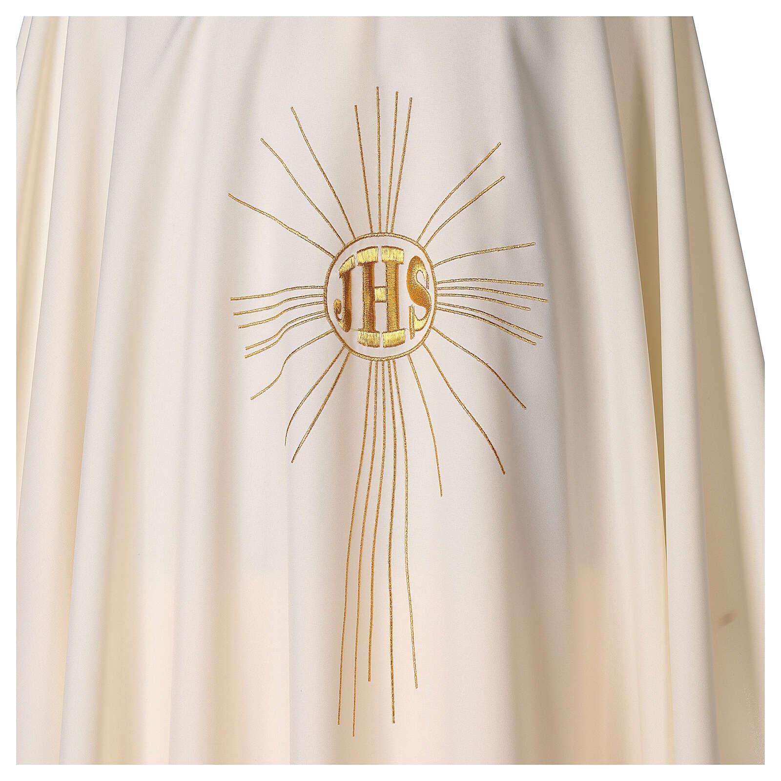 Casulla de crepe poliéster con rayos y símbolo JHS 4