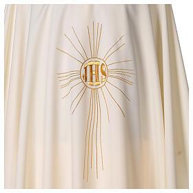Casulla de crepe poliéster con rayos y símbolo JHS s2