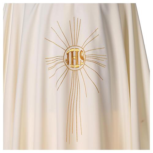 Casulla de crepe poliéster con rayos y símbolo JHS 2