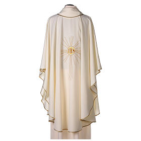 Chasuble en crêpe polyester avec rayons et symbole IHS s4
