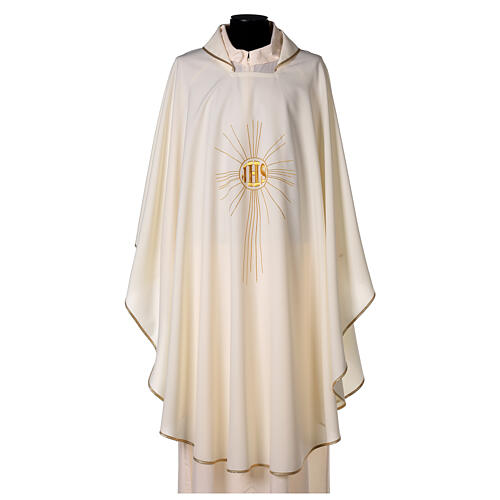 JHS Chasuble with rays in polyester crepe 1