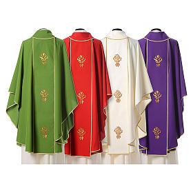 Casula stolone Agnus Dei con tre rose stilizzate s2
