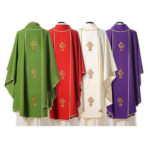 Casula stolone Agnus Dei con tre rose stilizzate 2