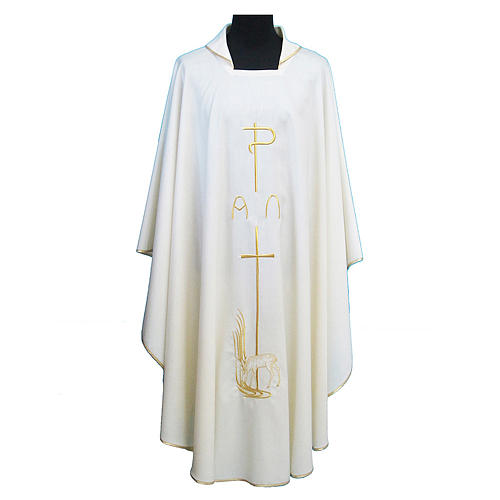 Chasuble toile polyester Chi-Rho croix cerf 1