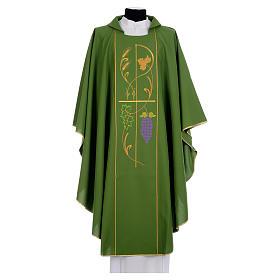 Chasuble prêtre 100% polyester Chi-Rho raisin épis s1