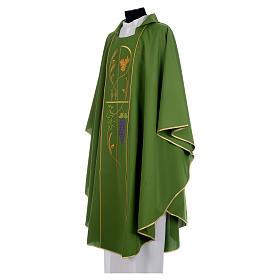 Chasuble prêtre 100% polyester Chi-Rho raisin épis s2