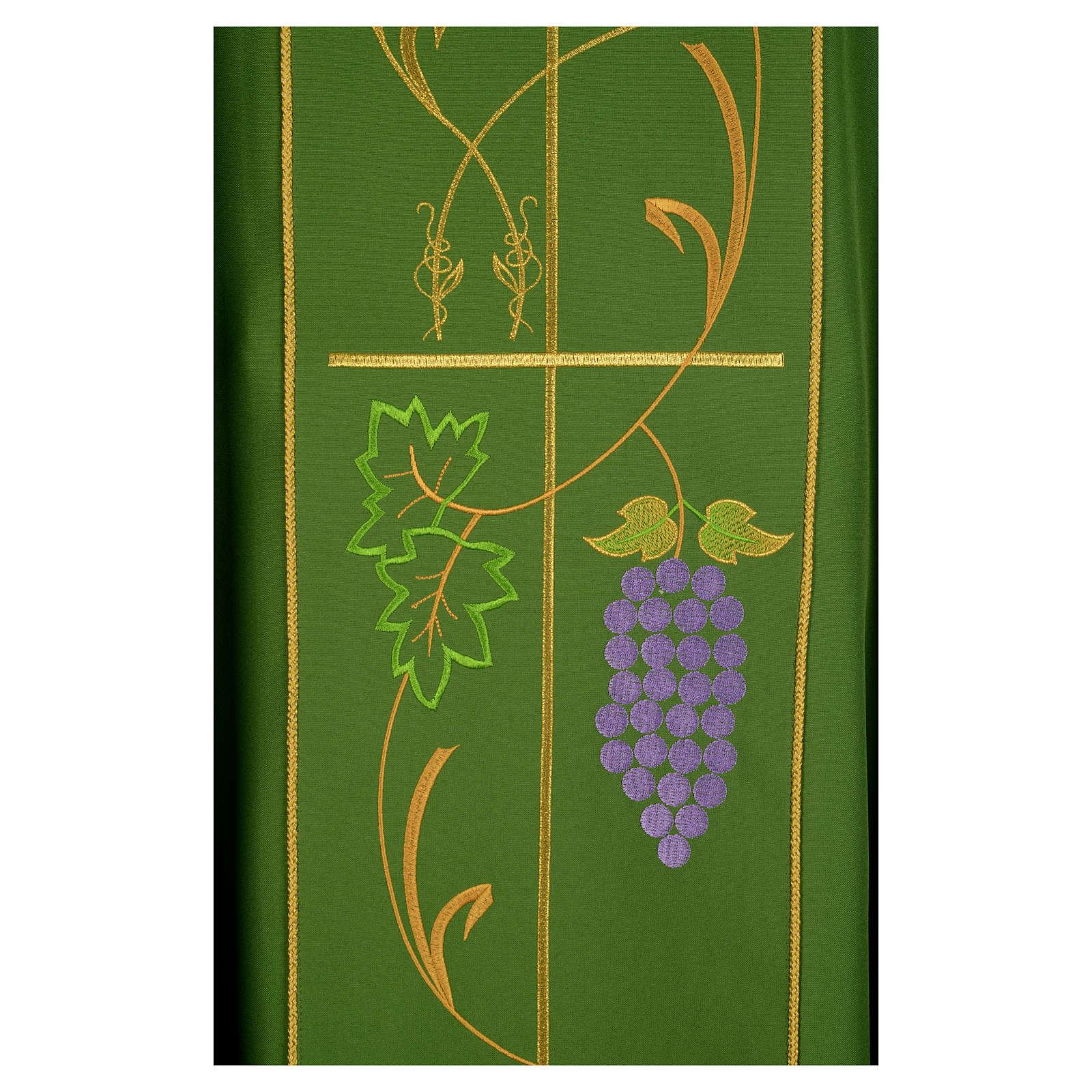 Casula litúrgica 100% poliéster Chi-Rho uva trigo 4