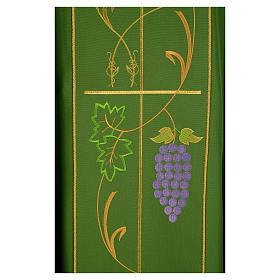 Casula litúrgica 100% poliéster Chi-Rho uva trigo s4
