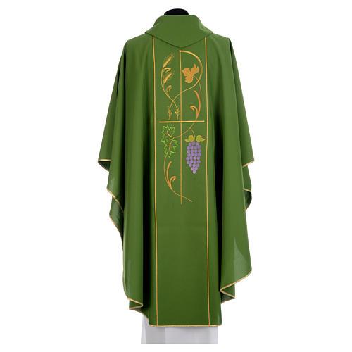 Casula litúrgica 100% poliéster Chi-Rho uva trigo 3