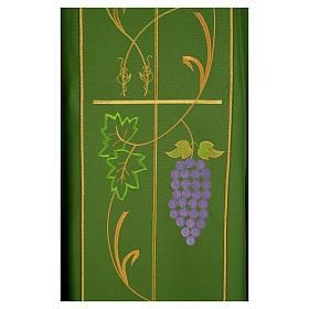 Liturgical Chasuble in 100% polyester Chi-Rho, grapes, ears of wheat s4