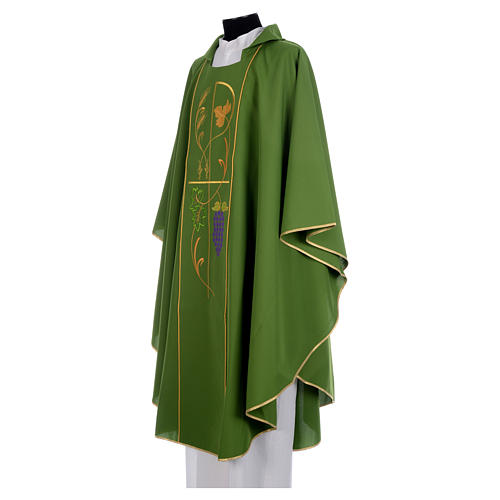 Liturgical Chasuble in 100% polyester Chi-Rho, grapes, ears of wheat 2