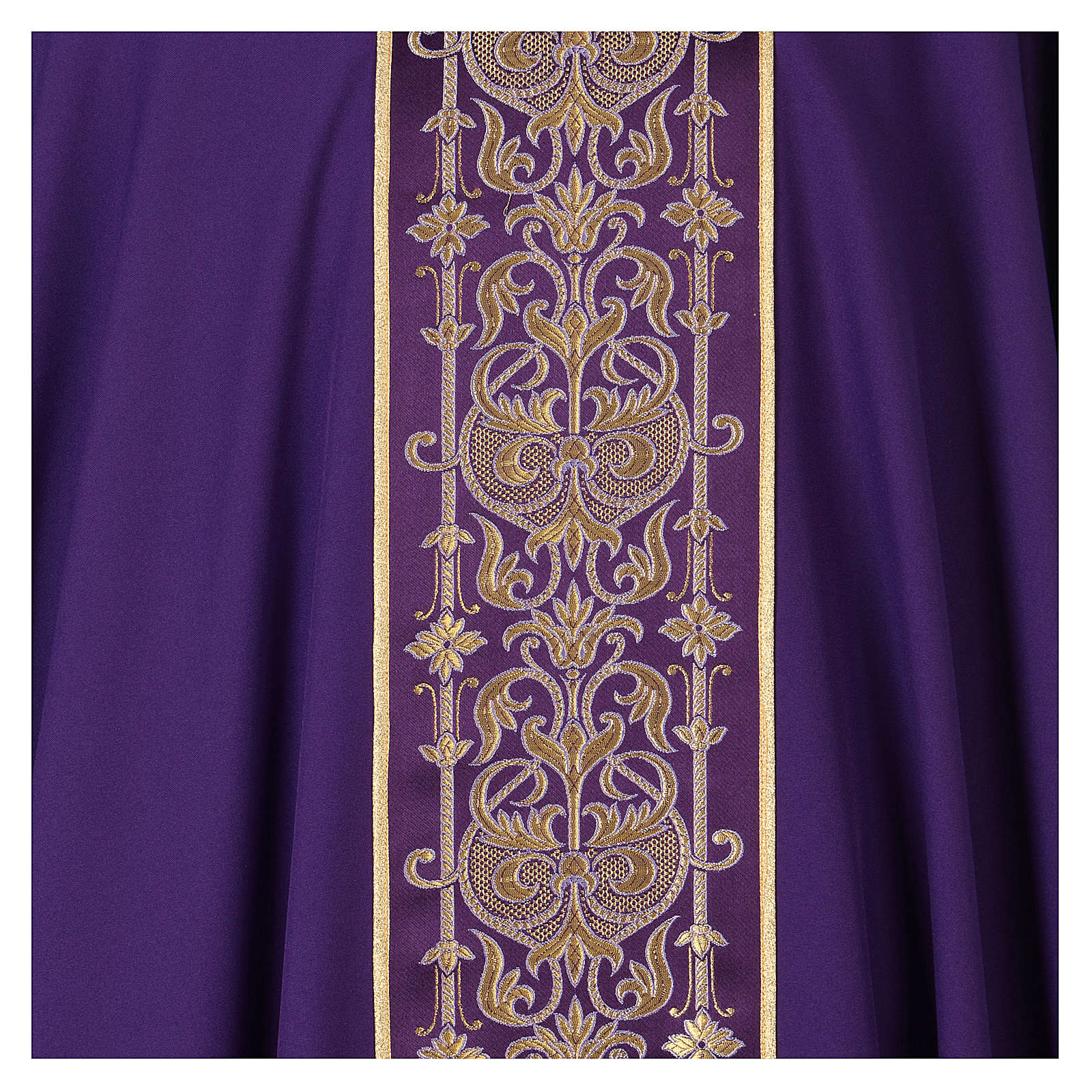 Chasuble with galloon on the front in Vatican fabric, 100% polyester 4