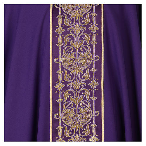 Chasuble with galloon on the front in Vatican fabric, 100% polyester 2