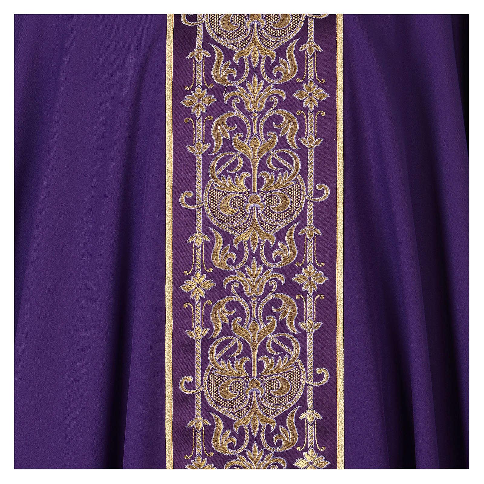 Casulla estolón delante tejido Vatican 100% poliéster 4