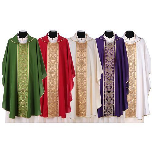 Casulla estolón delante tejido Vatican 100% poliéster 1