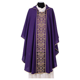 Latin Chasuble with galloon on the front in Vatican fabric, 100% polyester s1