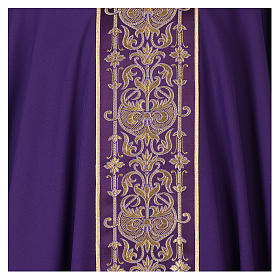Latin Chasuble with galloon on the front in Vatican fabric, 100% polyester s2