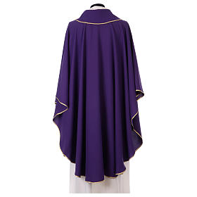 Latin Chasuble with galloon on the front in Vatican fabric, 100% polyester s3