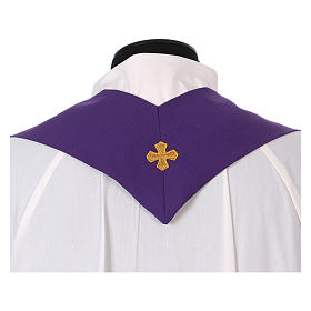 Latin Chasuble with galloon on the front in Vatican fabric, 100% polyester s5