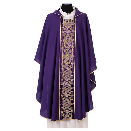 Latin Chasuble with galloon on the front in Vatican fabric, 100% polyester 1