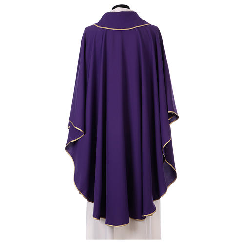 Latin Chasuble with galloon on the front in Vatican fabric, 100% polyester 3