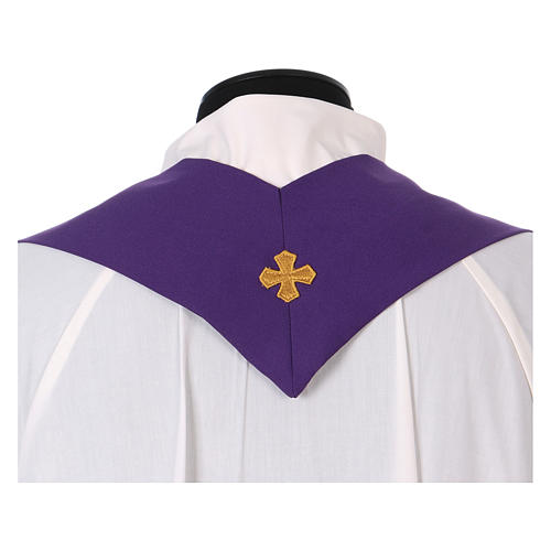 Latin Chasuble with galloon on the front in Vatican fabric, 100% polyester 5
