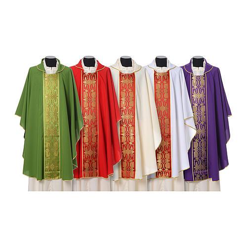 Casula con stolone fronte tessuto Vatican 100% poliestere 1