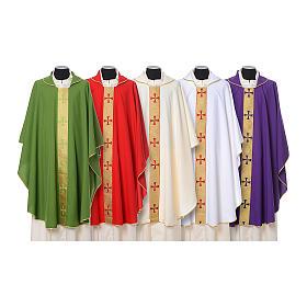 Casulla borde cruces delante tejido Vatican 100% poliéster s1