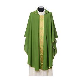 Casulla borde cruces delante tejido Vatican 100% poliéster s3