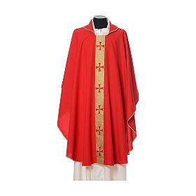 Casulla borde cruces delante tejido Vatican 100% poliéster s4