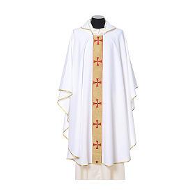 Casulla borde cruces delante tejido Vatican 100% poliéster s6
