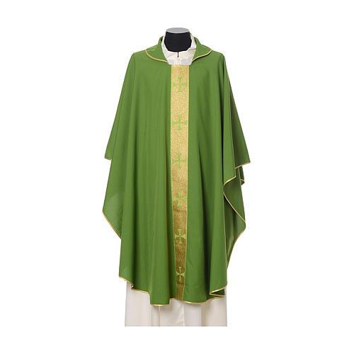 Casulla borde cruces delante tejido Vatican 100% poliéster 3