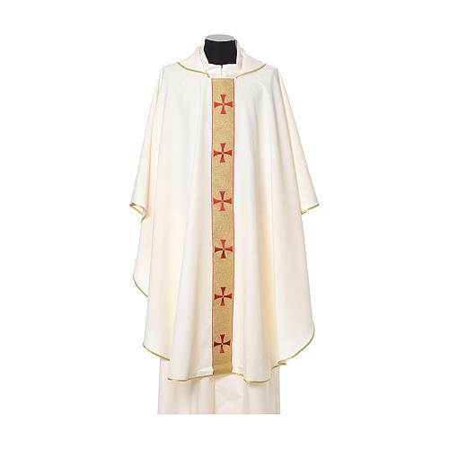 Casulla borde cruces delante tejido Vatican 100% poliéster 5