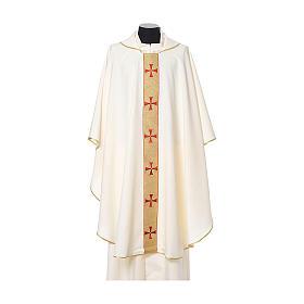 Chasuble bord croix avant tissu Vatican 100% polyester s5