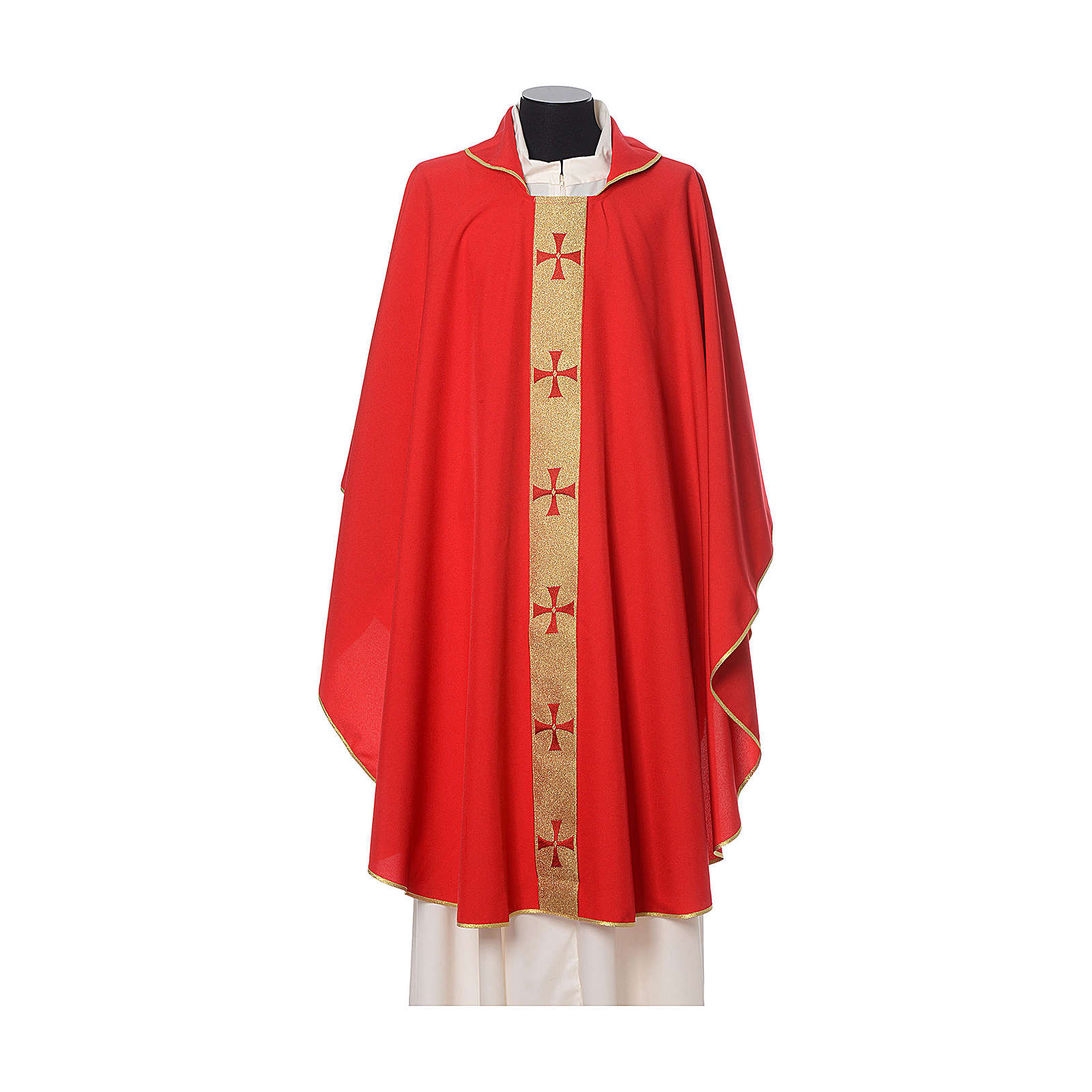 Gothic Chasuble with embroidered crosses on front in Vatican fabric, 100% polyester 4