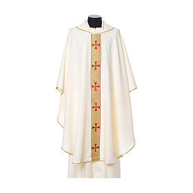 Gothic Chasuble with embroidered crosses on front in Vatican fabric, 100% polyester s5