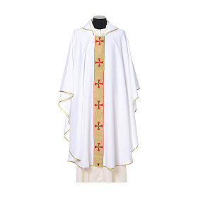 Gothic Chasuble with embroidered crosses on front in Vatican fabric, 100% polyester s6