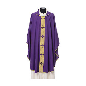Gothic Chasuble with embroidered crosses on front in Vatican fabric, 100% polyester s7
