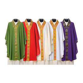 Chasubles: Chasuble with V neckline and decoration on front and back, 100% polyester
