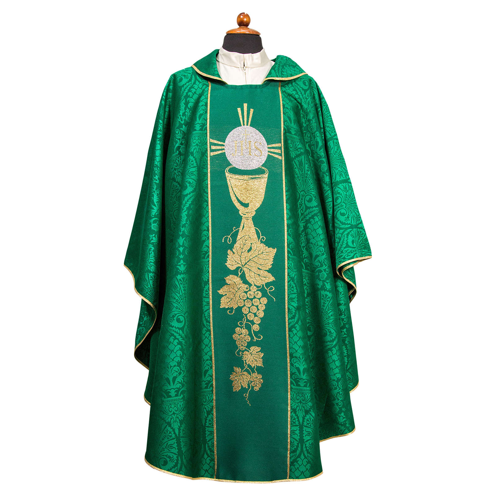 Chasuble with embroidered orphrey in Damask fabric 4