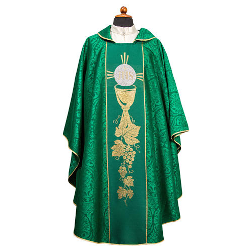 Chasuble with embroidered orphrey in Damask fabric 1