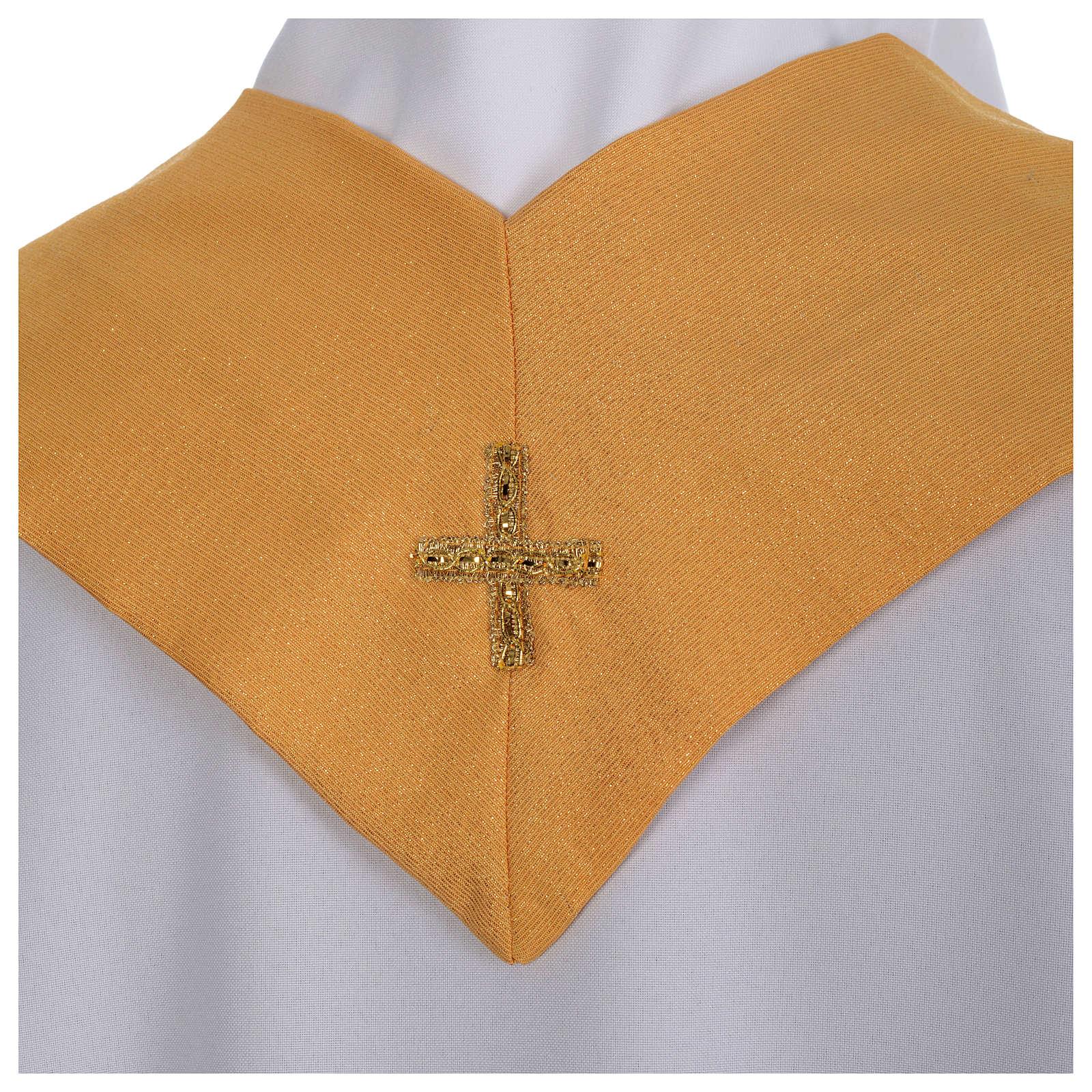 Chasuble dorée tissu or faille de laine 4