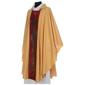 Chasuble dorée tissu or faille de laine s2