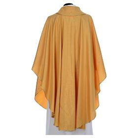 Chasuble dorée tissu or faille de laine s3